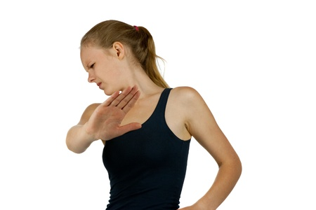 distrust: Young  girl making stop gesture on white background