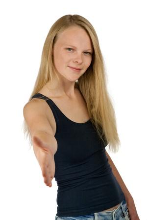 Young woman giving hand for handshake photo