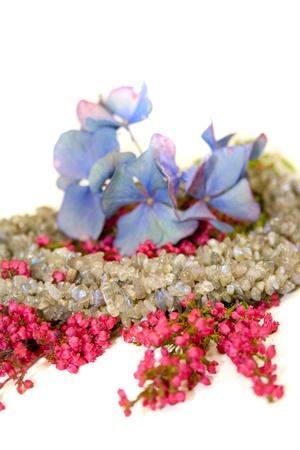 labradorite: Labradorite with heath and blossoms