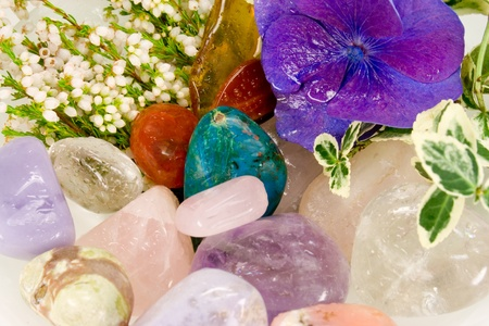 Gemstones for therapy with blossoms photo