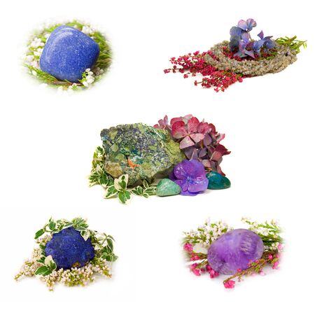 crystal therapy: set of different gem stones Stock Photo