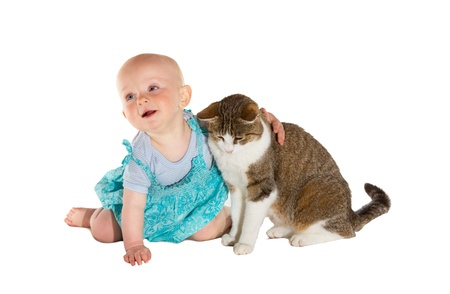 Little baby hugging the cat Stock Photo - 13974849