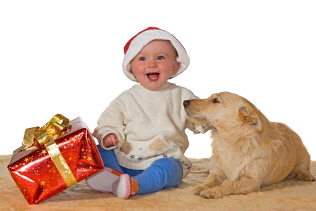 Merry little baby with a beaming smile wearing a Santa hat sitting on the floor with a large red gift enjoying Christmas with the family dog photo