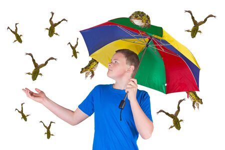 Fun image of an attractive young man sheltering under a colourful umbrella holding out his hand in surprise because it is raining frogs instead of raindrops isolated on white photo
