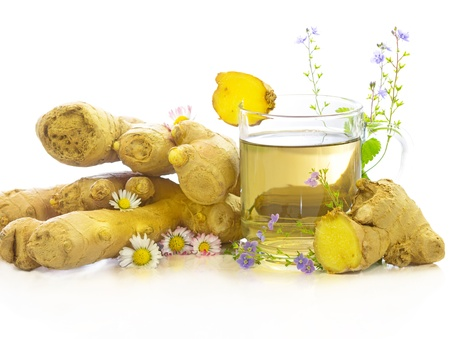 ginger flower plant: Tasty herbal tea or infusion of fresh ginger and herbs like Bellis prennis and Veronica, on a white background