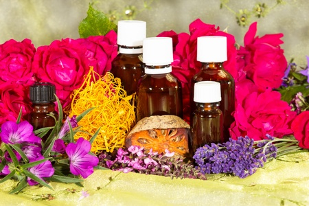 millefolium: Essential oil with roses and herbs for spa
