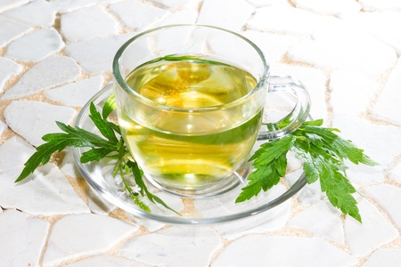 botanical remedy: Verbena officinalis leaves and herbal tea or infusion in a clear glass cup and saucer made from the verbena plant and used as a cure for insomia by naturopaths
