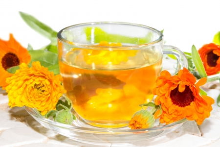 antiviral: Herbal tea made from Calendula officinalus, or the Pot Marigold, with fresh orange flowers used as a colourant in cookery and as a bactericide, anti-inflammatory and antiviral treatment in naturopathy