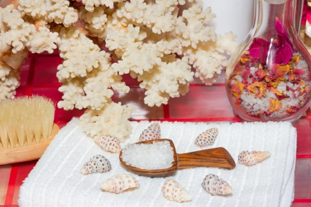 crystal therapy: Small wooden scoop containing marine bath salts on a towel in front of coral surrounded by seashells for a relaxing detoxifying bath full of minerals from the sea Stock Photo