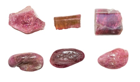 Six pieces of pink tourmaline or rubellite, a semi-precious gemstone used in jewellery and in crystal healing to aid the central nervous system Stock Photo - 21462298