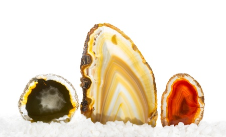 Colourful agates, a form of chalcedony or silica quartz used as a decorative gemstone in jewellery and carving and in crystal healng for protection and calming Stock Photo - 21845993
