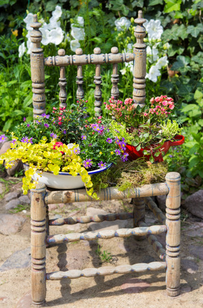 Garden decoration with a old chair and differnt plants makes a unique eyecatcher.