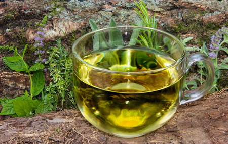 differnt: A clear cup of herbal tea in front of differnt healing herbs used in naturopathic medicine.
