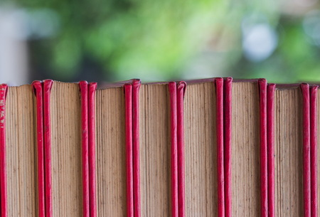 closed-up stack of old red cover book with green background