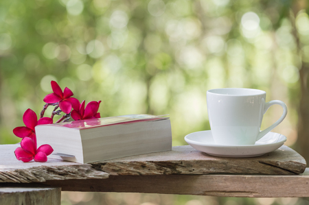 comfort food: coffee ,book and red plumeria on plank with forest background