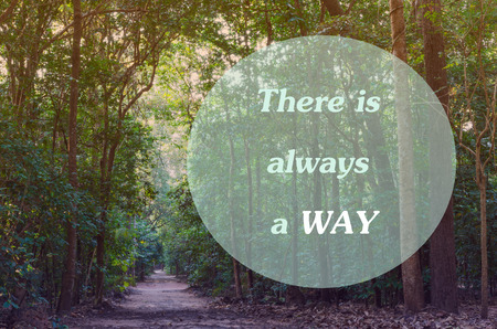 Inspired quotation  on beautiful  tropical green Forest and Footpath