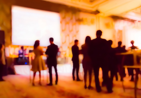 blurred  people  in cocktail party at hotel ballroom Stock Photo
