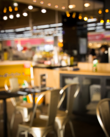 Blurred  seat and table  in cafeteria or restaurant Stock Photo
