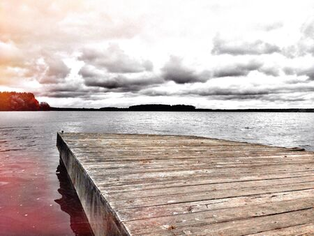 brisk: Fishing dock on Pymatuning Lake on a brisk fall day