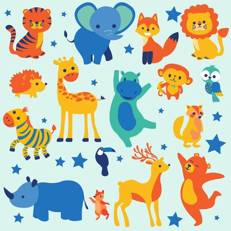 Set of wildlife cartoon animals Ilustracja