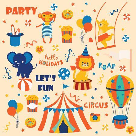 Set of circus party cartoon animals Illusztráció