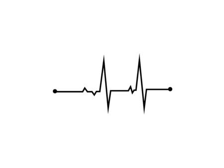 Illustration of heart rhythm or heart wave, Black electrocardiogram or cardiogram lines of heart on white background using for healthcare and medical concept.