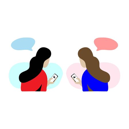 Flat illustration character design of two woman're discussing about business situation and looking a decline line business bar or graph diagram icon with black dropping arrow on their smartphone.