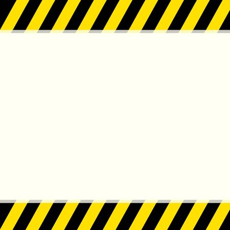 Black and yellow warning stripe sign on a top and bottom background with copy space for your text. Maintenance technical site caution and notice under construction sign. Alert attention banner. Ilustración de vector