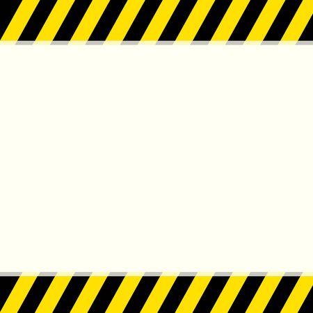 Bande d'avertissement noire et jaune sur fond haut et bas avec espace de copie pour votre texte. Attention site technique de maintenance et avis sous signe de construction. Bannière d'alerte d'attention. Vecteurs