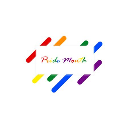 Pride month message on a square box banner colored on the rainbow text. Geometric abstract rounded square colored on a colorful background representing LGBT pride. (lesbian,gay,bisexual,transgender) Vettoriali