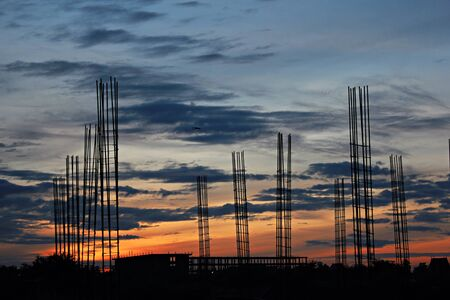 construction: Sunset at construction site
