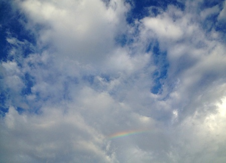 sky  clouds: Little rainbow in sky clouds
