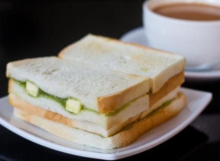 kaya: Bread and tea for breakfast Stock Photo