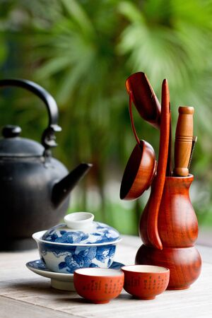 Chinese tea set on a wooden table photo