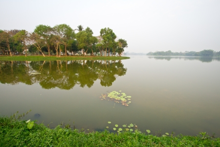 Inya lake in the morning with reflection
