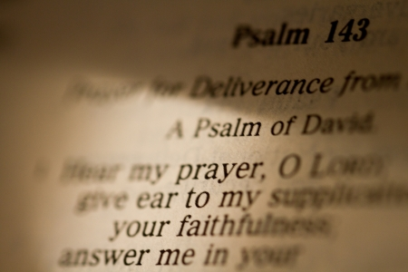 scripture: Prayer in Psalms found in the Bible Stock Photo