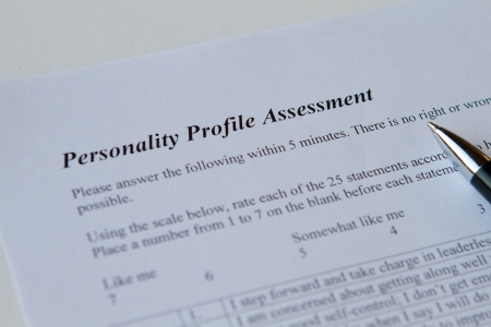 personality assessment form on white Stock Photo