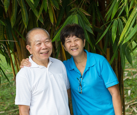 Chinese Asian senior couple at the park photo