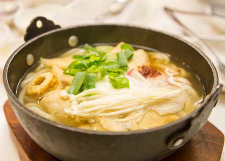chafing dish: Korean soup with mushorrom and vegetables Stock Photo