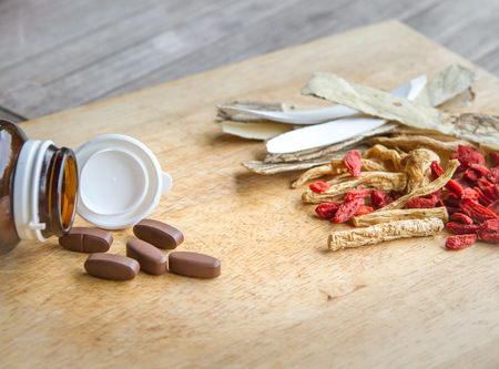 Use drugs or chinese herbs Stock Photo