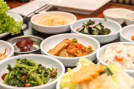 appetising: Typical Korean food with mutli small dishes