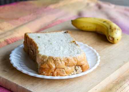 simple meal: Simple meal with bread and banana