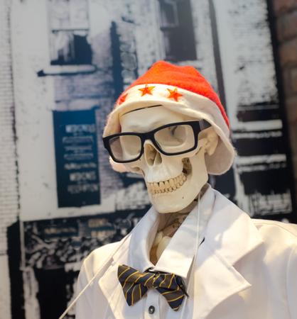 dressed up: Skeleton dressed up for Christmas