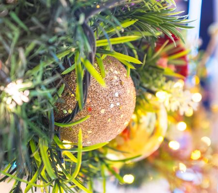 Christmas decoration with colorful balls and lights