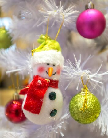 christmas deco: Christmas deco that included snow man and colored balls