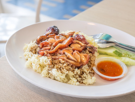 sumptuous: BBQ chicken rice with chilly sauce on a plate Stock Photo