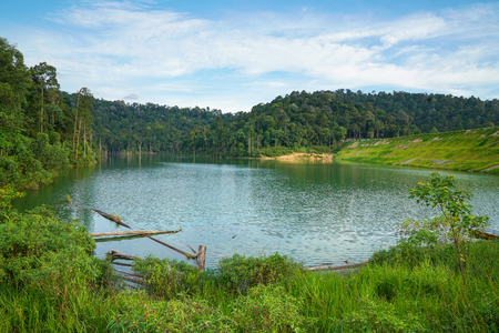 Lake surrounded by beautiful green Stock Photo