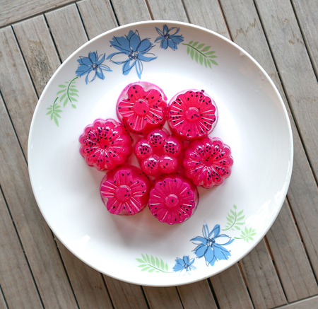 Dragon fruit (red) agar agar (Jelly) sweet dessert - top view