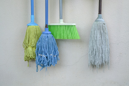 Used mops and broom - cleaning icons