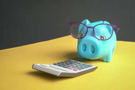 Piggy bank with eyeglasses looking at calculator. Copy space. 版權商用圖片